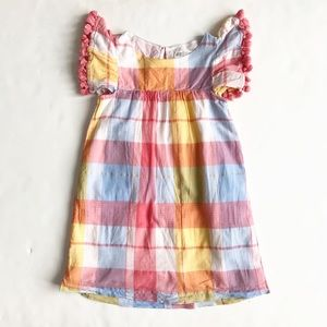 H&M plaid tassel sleeve dress VGUC 5-6Y